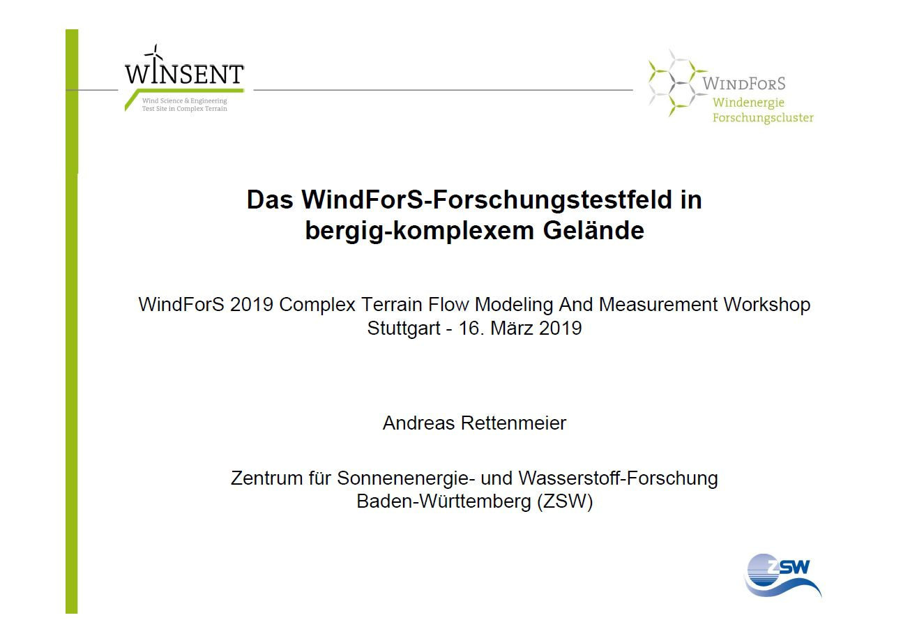 Complex Terrain Flow Modeling And Measurement Workshop – WindForS